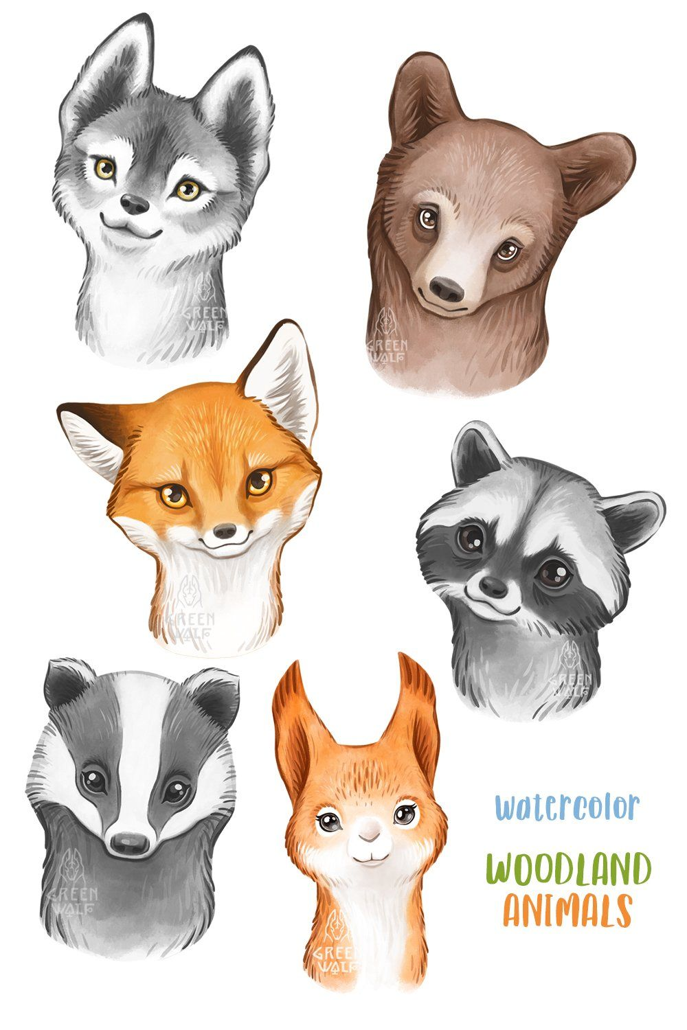 Forest Animals Watercolor Animals Png Cute Animals Clipart 682527 Illustrations Design Bundles Animal Clipart Cute Animal Clipart Cute Animal Illustration