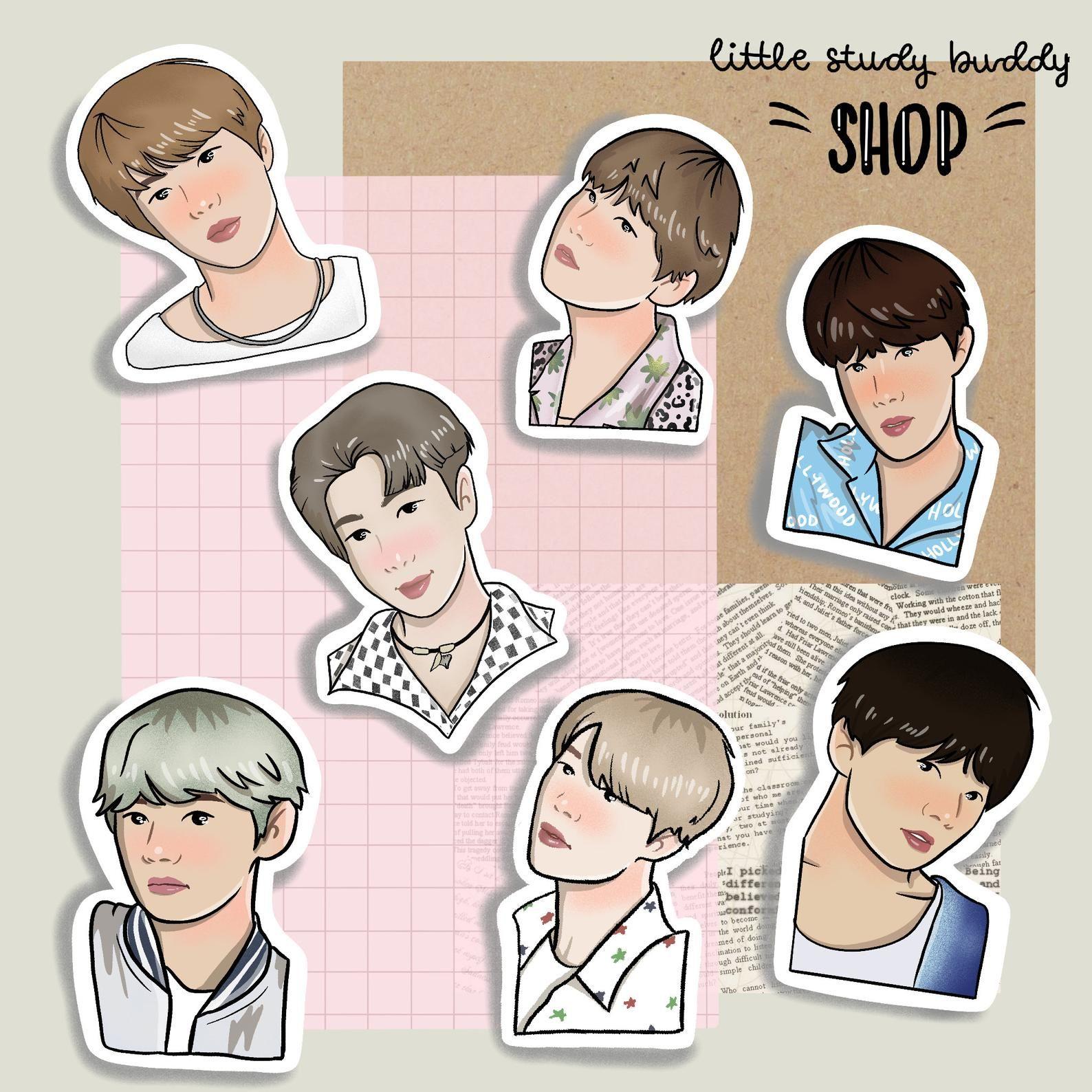 Kpop Bts Sticker Set Rm Jin Suga J Hope Jimin V Etsy Ilustrasi Karakter Stiker Lucu
