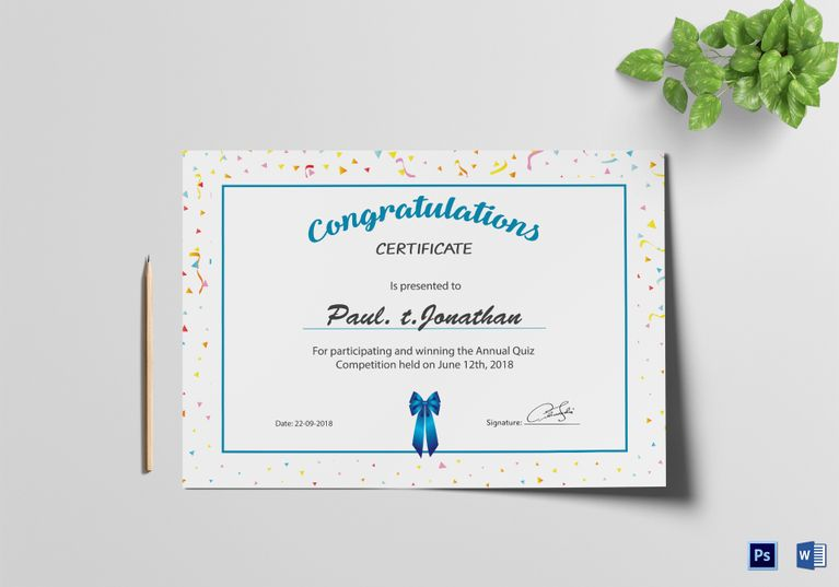 Editable Congratulations Certificate Template \u2013 buildingcontractor