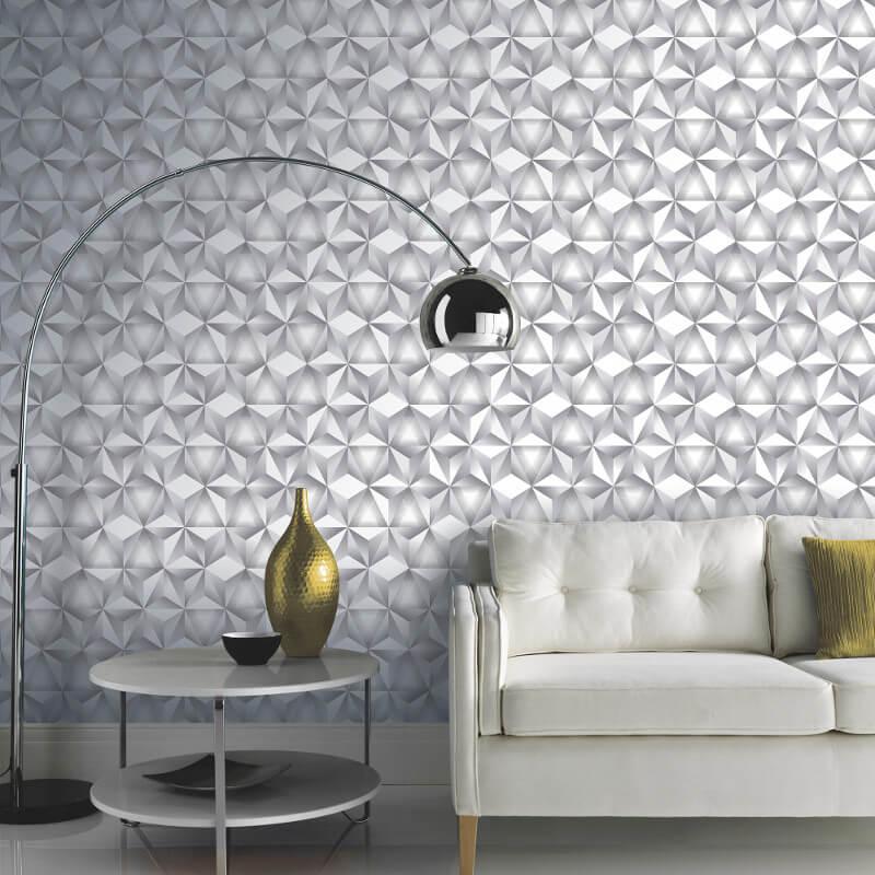 Arthouse Geo 3D Triangle White/Grey Metallic Wallpaper