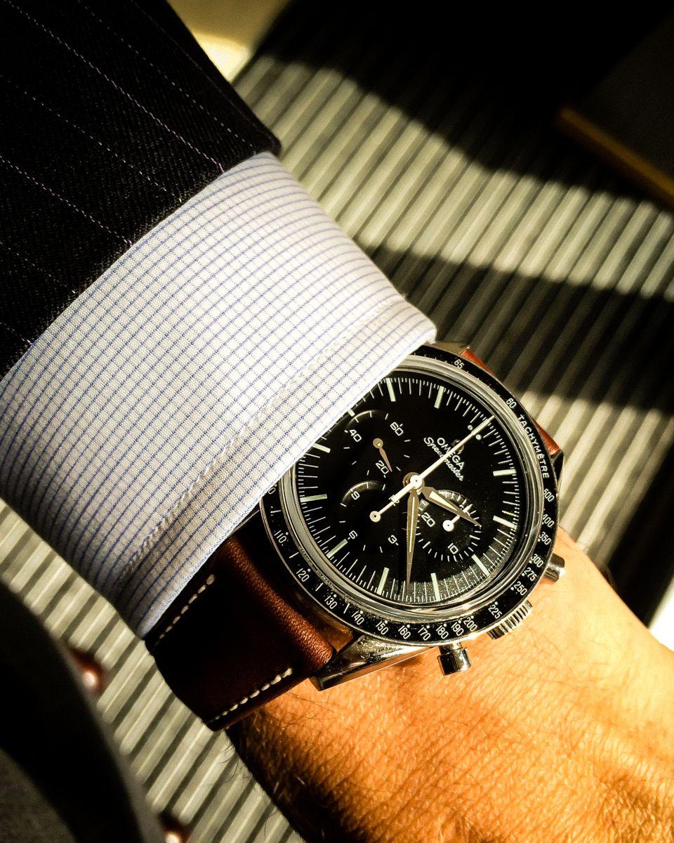 "Speedmaster ""First Omega in Space"" Under the parisian sun…  Sciamat bespoke suit  Swann & Oscar ""sartorial"" line bespoke shirt"