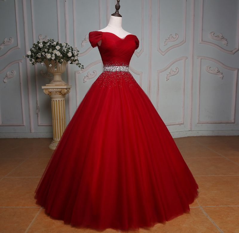 bdf3c6b8a1d New Deep Red Beaded Quinceanera Dress Ball Gown Cap Sleeves Prom Evening  Dresses  Unbranded  ALineDressGown  Formal