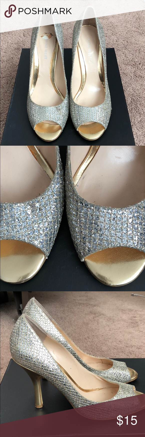 Sparkly Heels (Nine West) gold and silver Sparkly Heels