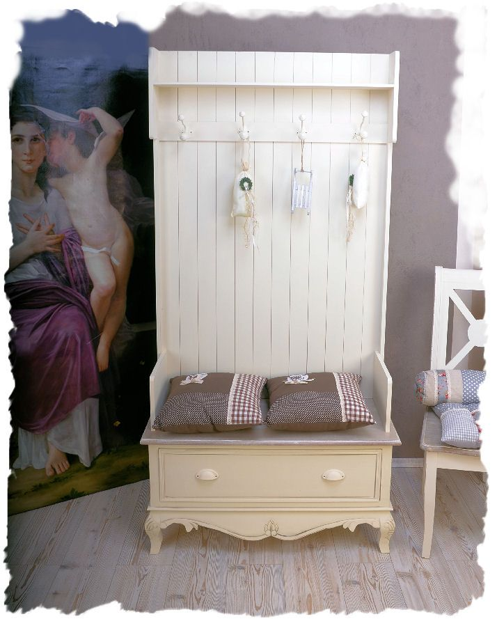 garderobenschrank flur garderobe shabby chic weiss vintage for the home pinterest home. Black Bedroom Furniture Sets. Home Design Ideas
