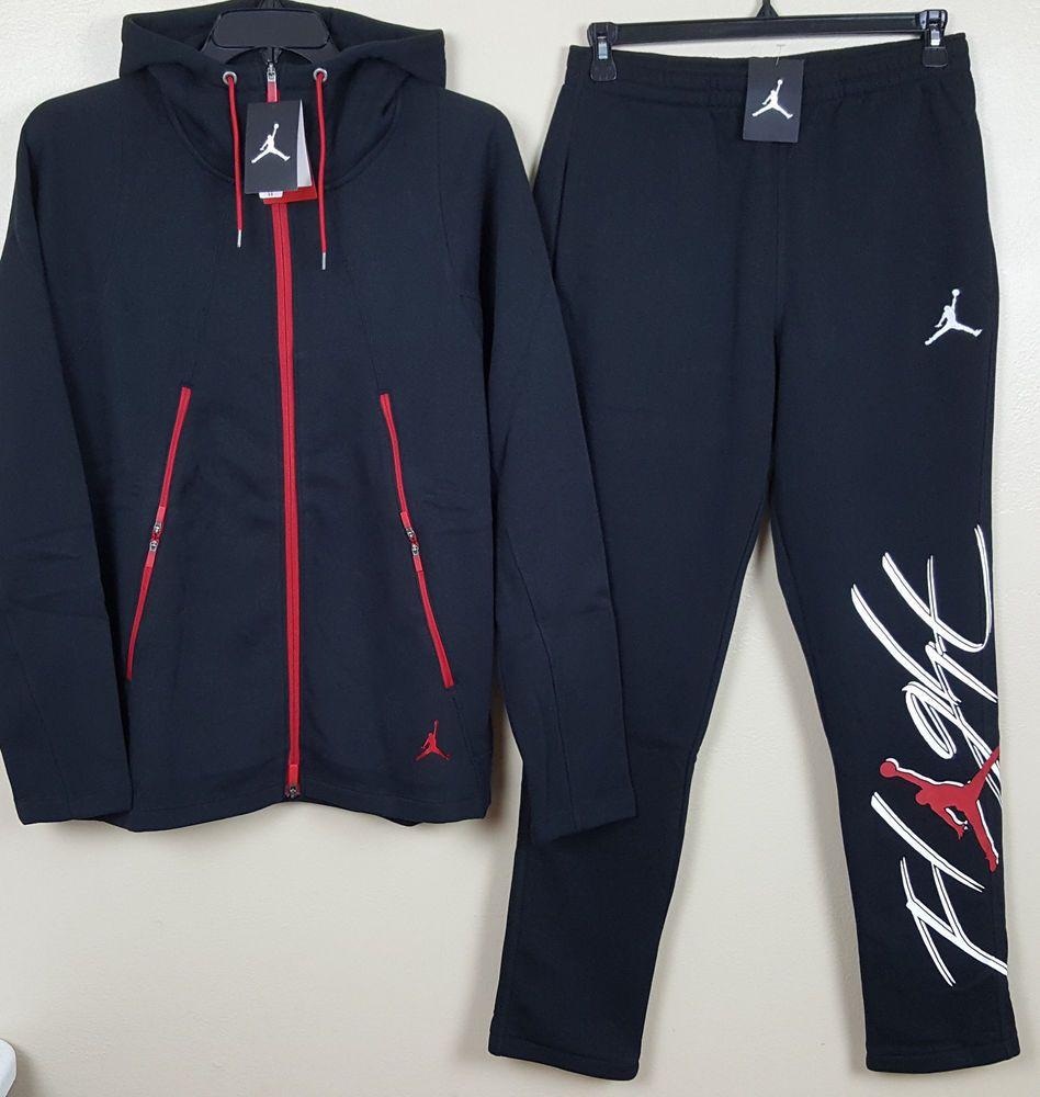 NIKE JORDAN VARSITY FLIGHT SWEATSUIT HOODIE +SWEATPANTS BLACK RED RARE  (SIZE XL)  Nike  TrackSweatSuits 936603c34