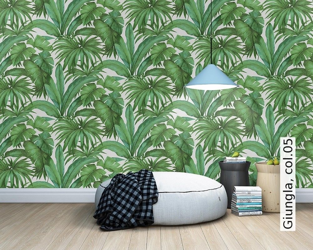 Versace Green Palm Leaf Wallpaper Extra Wide Textured Vinyl Paste the Wall