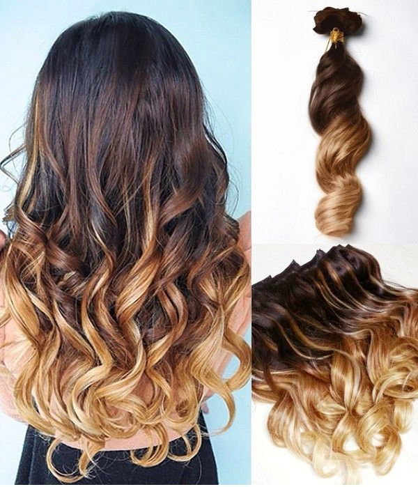 Brown To Blonde Dip Dye Ombre Indian Remy Clip In Hair Extensions