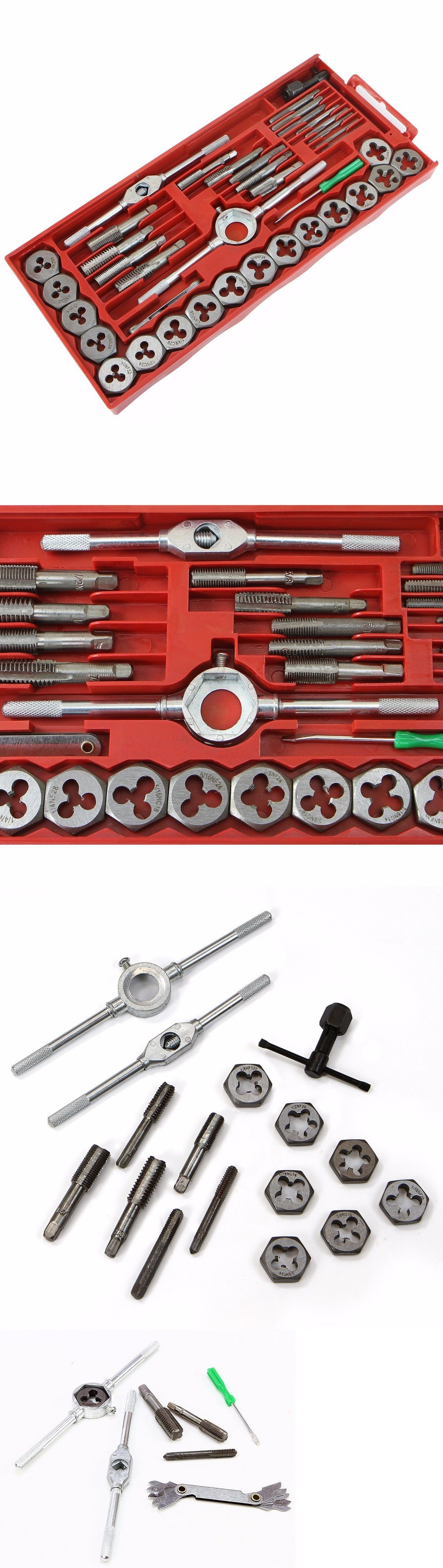 pc standard sae tap and die set bolt screw extractor puller kit