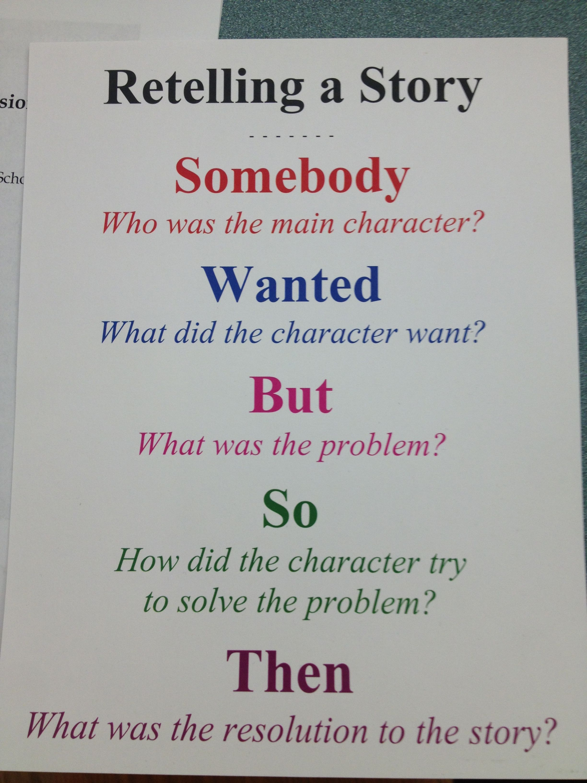 Story Retelling In 1 2 Sentences
