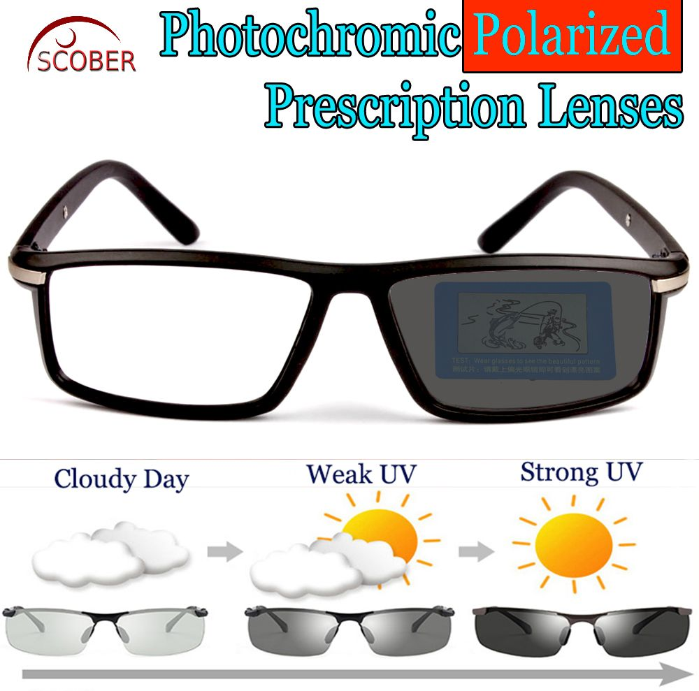 c257709e8cb Photochromic GRAY Polarized Prescription sunglasses Custom Made Myopia Minus  Prescription Lens -1 -1.25 -1.5 -1.75 -2 -2.25 -2.5 -2.75 -3 -3.25 -3.5  -3.75 ...