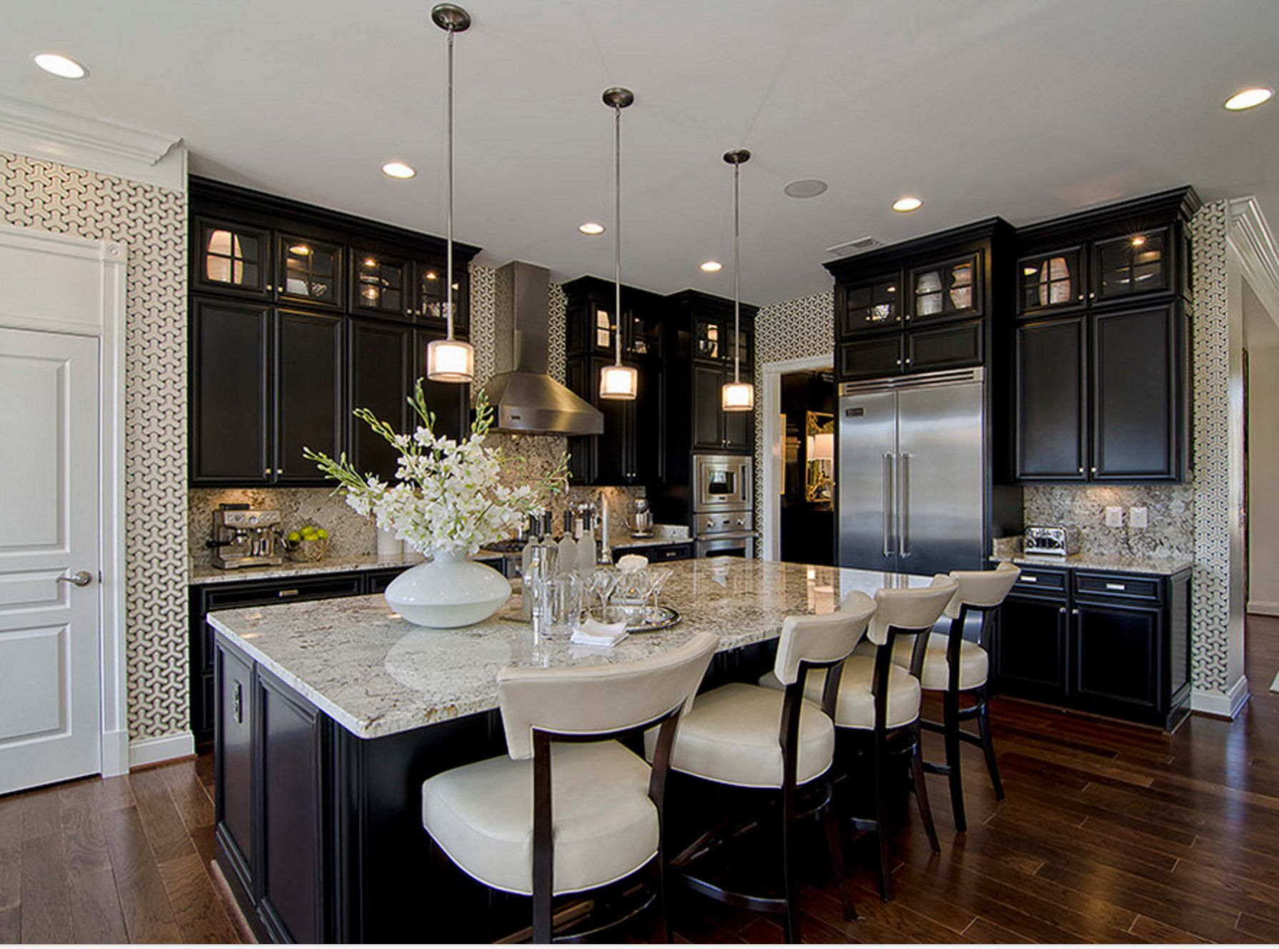 Black ebony stained kitchen cabinets paint pinterest for Black stained cabinets