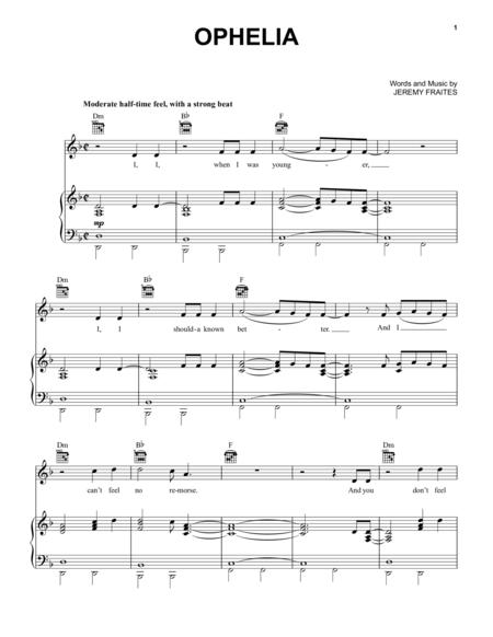 Ophelia Sheet Music 1 Kottk Pinterest Sheet Music Digital
