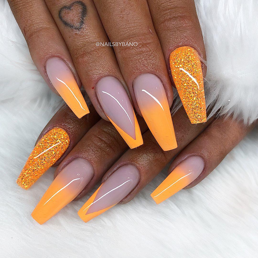 Neon Orange Fade Egenblandat Glitter Nailsbybano With