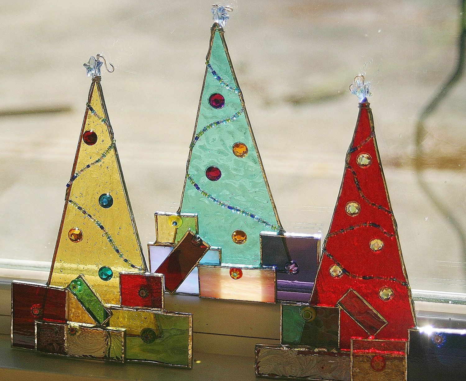 Christmas Stained Glass Ornaments Part - 18: Christmas Trees With Presents, Wire, Beads · Stained Glass OrnamentsStained  ...