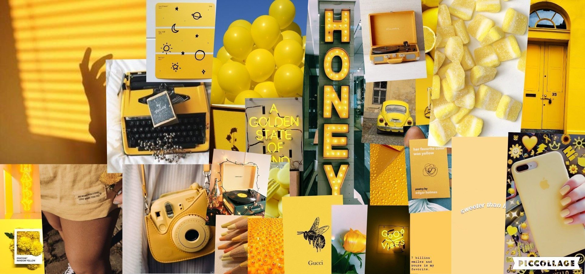 Aesthetic wallpaper collage yellow