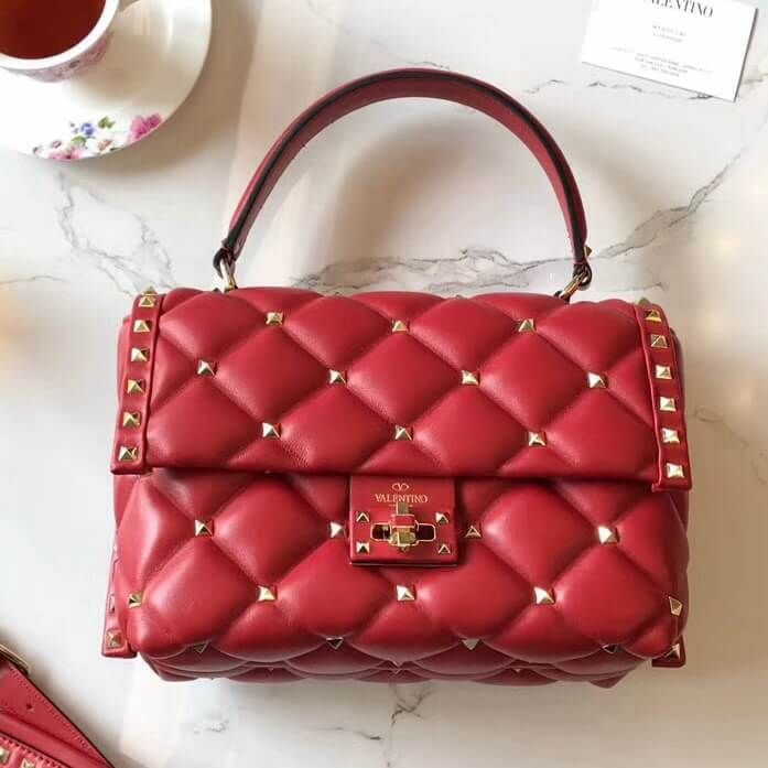 3546cc570bcca Valentino Lambskin Garavani Candystud Single Handle Bag Red 2018 ...