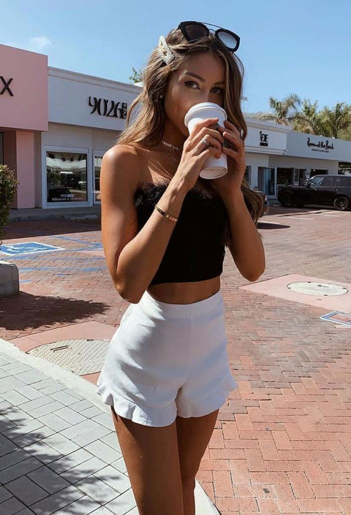 white and black outfit / off shoulder top and high waist shorts #outfitswithshorts