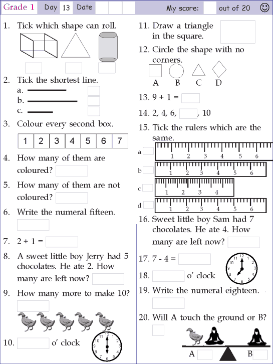Mental Math Grade 1 Day 13 Mental Math Mental Maths Worksheets 1st Grade Math Worksheets