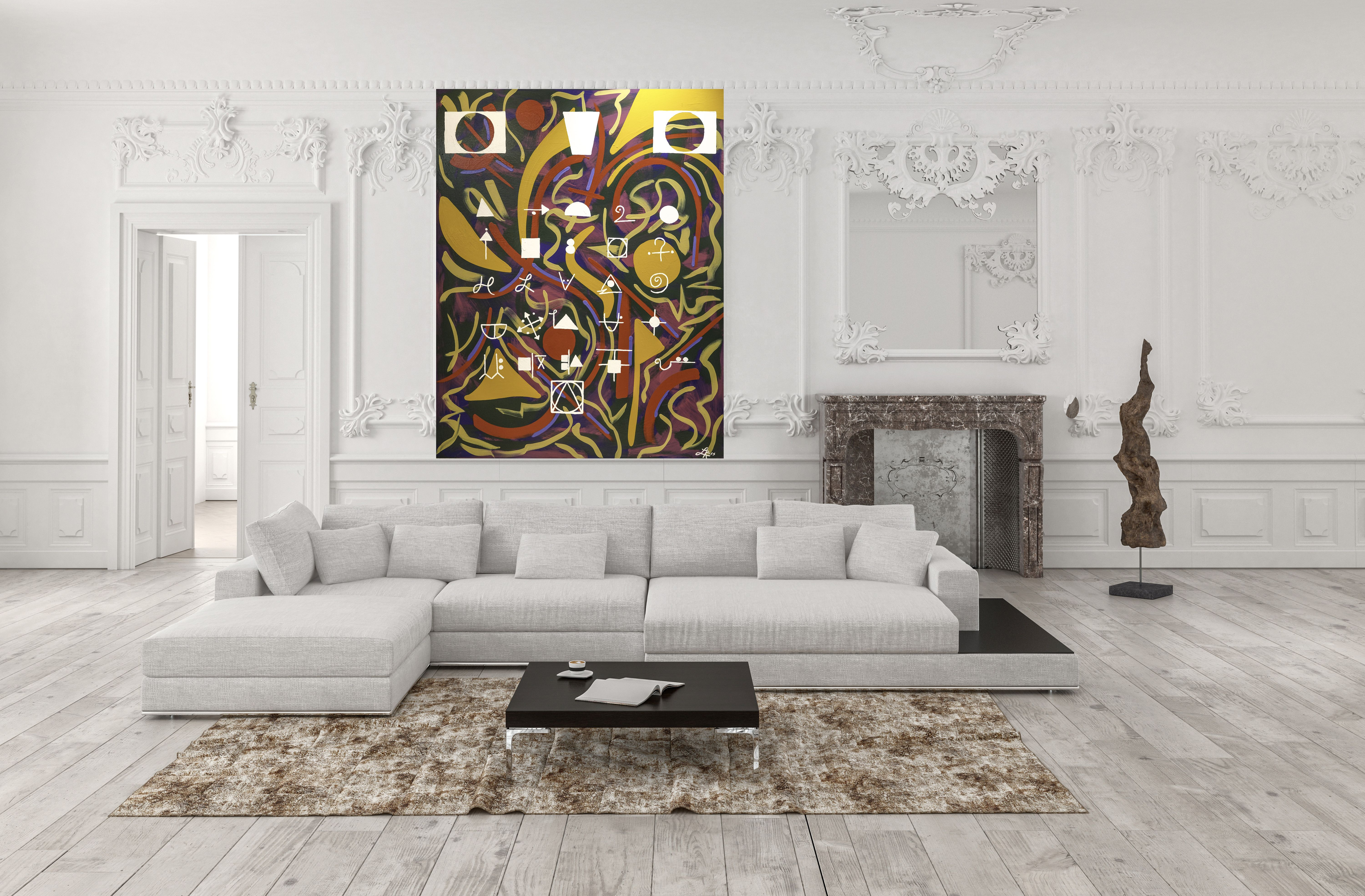 title cryptography acrylic on canvas 60 h x 48 w in on modern acrylic paintings for living room id=15376