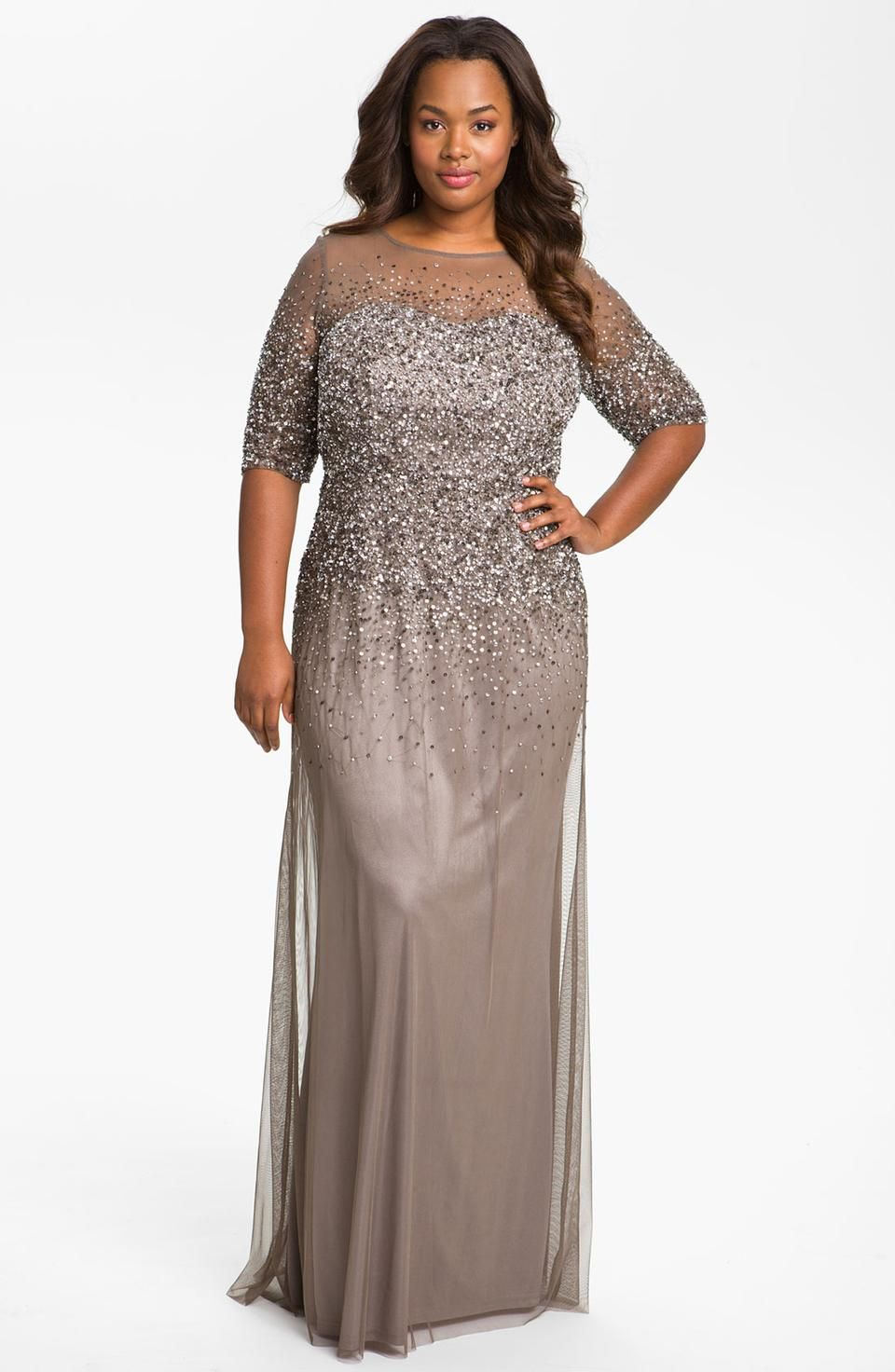 Adrianna Papell Beaded Illusion Gown Plus Size Adriannapapell