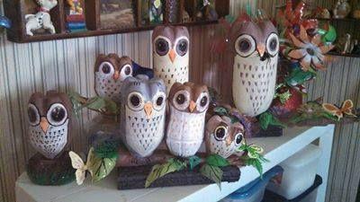 Owls Made Out Of 2 Liter Coke Bottles Coke Bottle Crafts