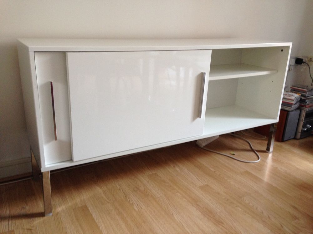 White high gloss sideboard unit, 150cm x 38cm | Sideboard ...