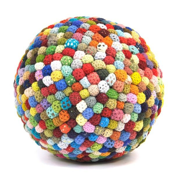 Image detail for -Crochet Balls Rug Pouf Multi furniture, ottomans, found object   Better in subdued pallet.