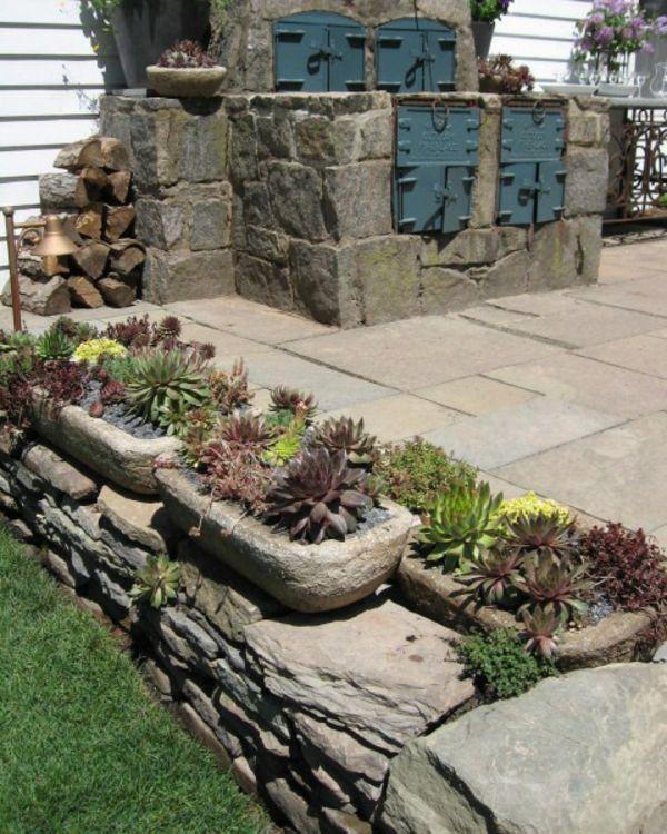 Tolle Garten Designs mit Dekoration von Blumentöpfen Hauswurz