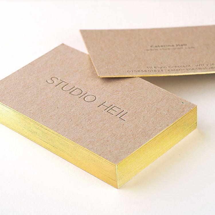 Studioheilletterpressbusinesscardsgiltedged750 business gilt edged letterpress business cards on recycled board reheart Choice Image