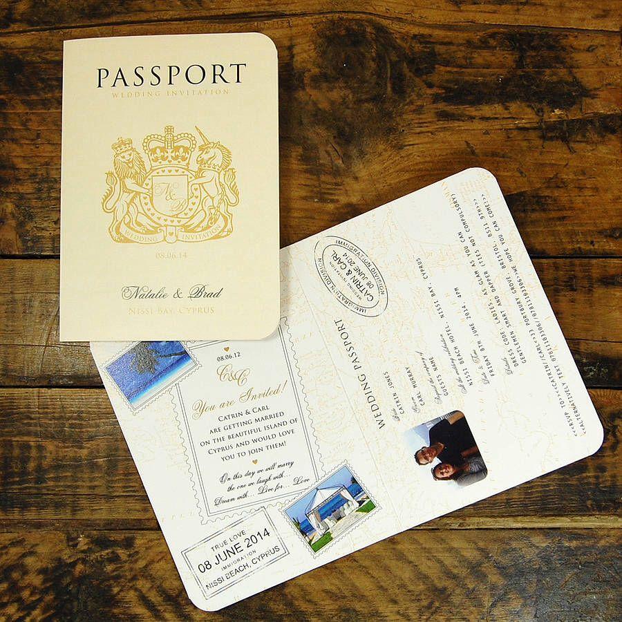 Passport invite  Wedding invitations uk, Passport wedding