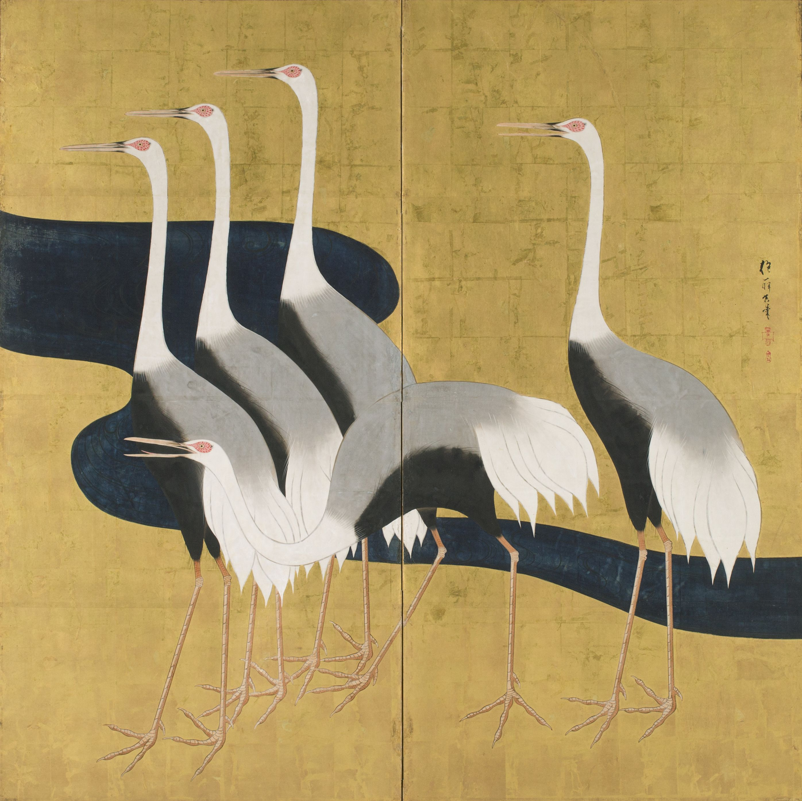 Color in japanese art -  Cranes Sakai H Itsu Two Panel Folding Screen Sumi Ink Color And Gold Leaf On Paper At Worcester Art Museum