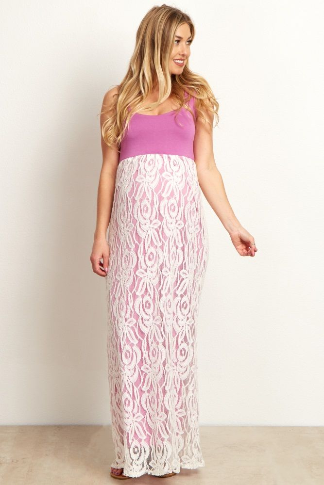 15471e4d44e Orchid White Lace Colorblock Maternity Maxi Dress