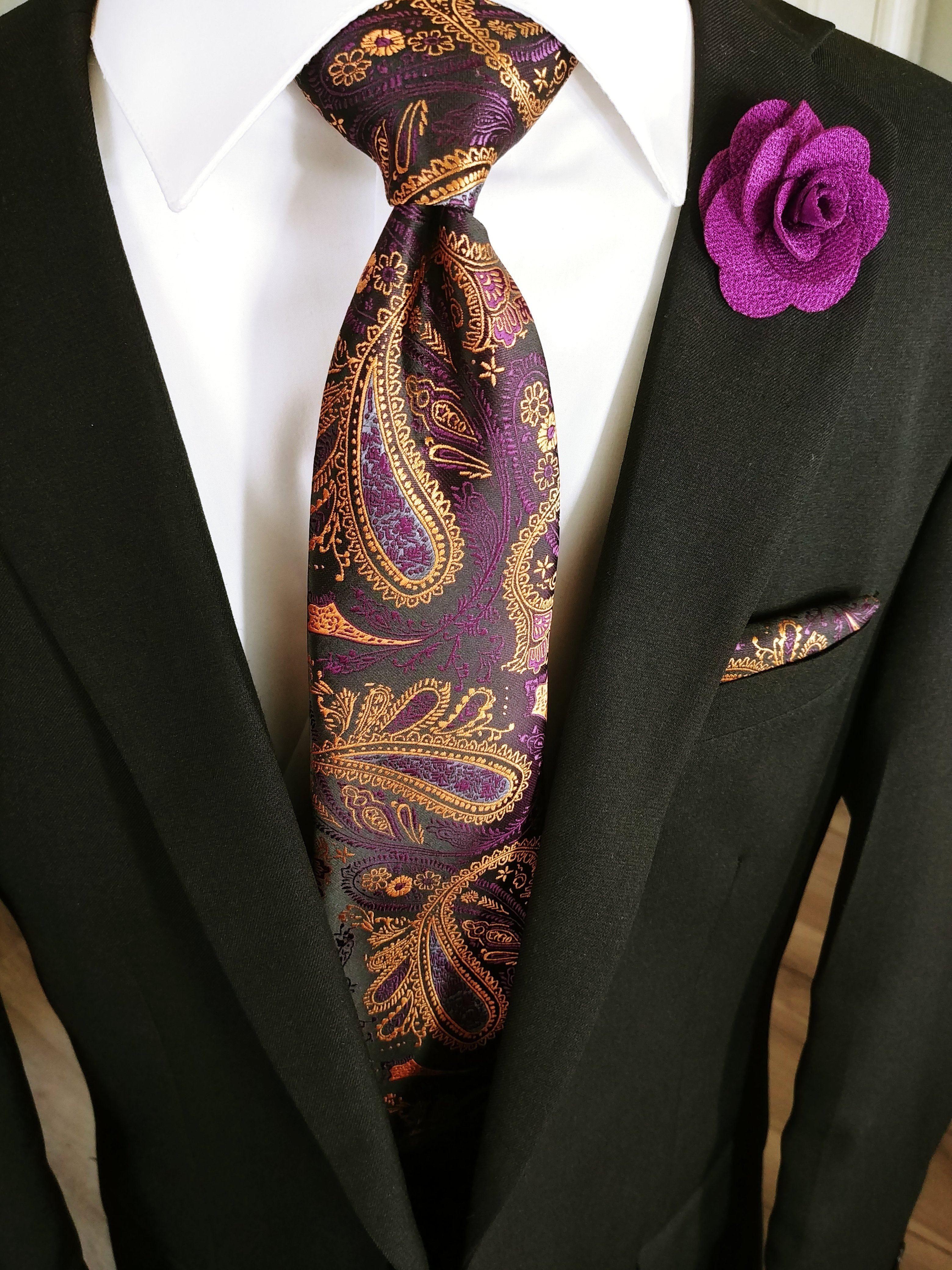 b5eb73336ace Purple Silk Paisley Tie Pocket Square Cufflinks Set Black & Light Brown