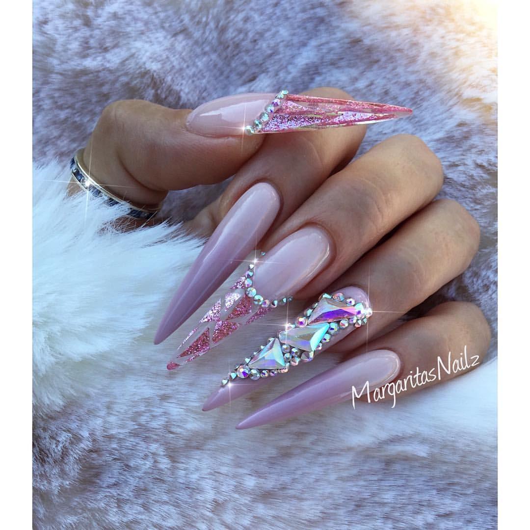 Ombré stiletto nails fashion nail art design Swarovski crystals by ...