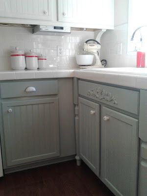 painting oak cabinets white and grey featured on remodelaholic com