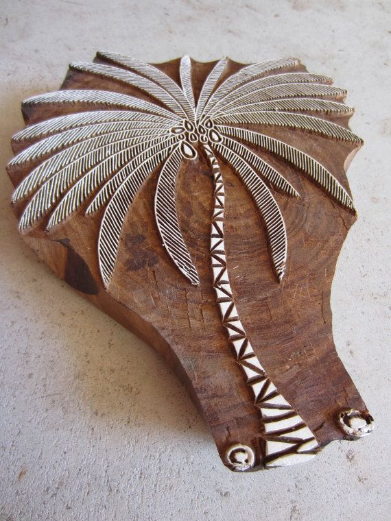 Palm Tree Block Print Hand Carved By Queenandswan Make