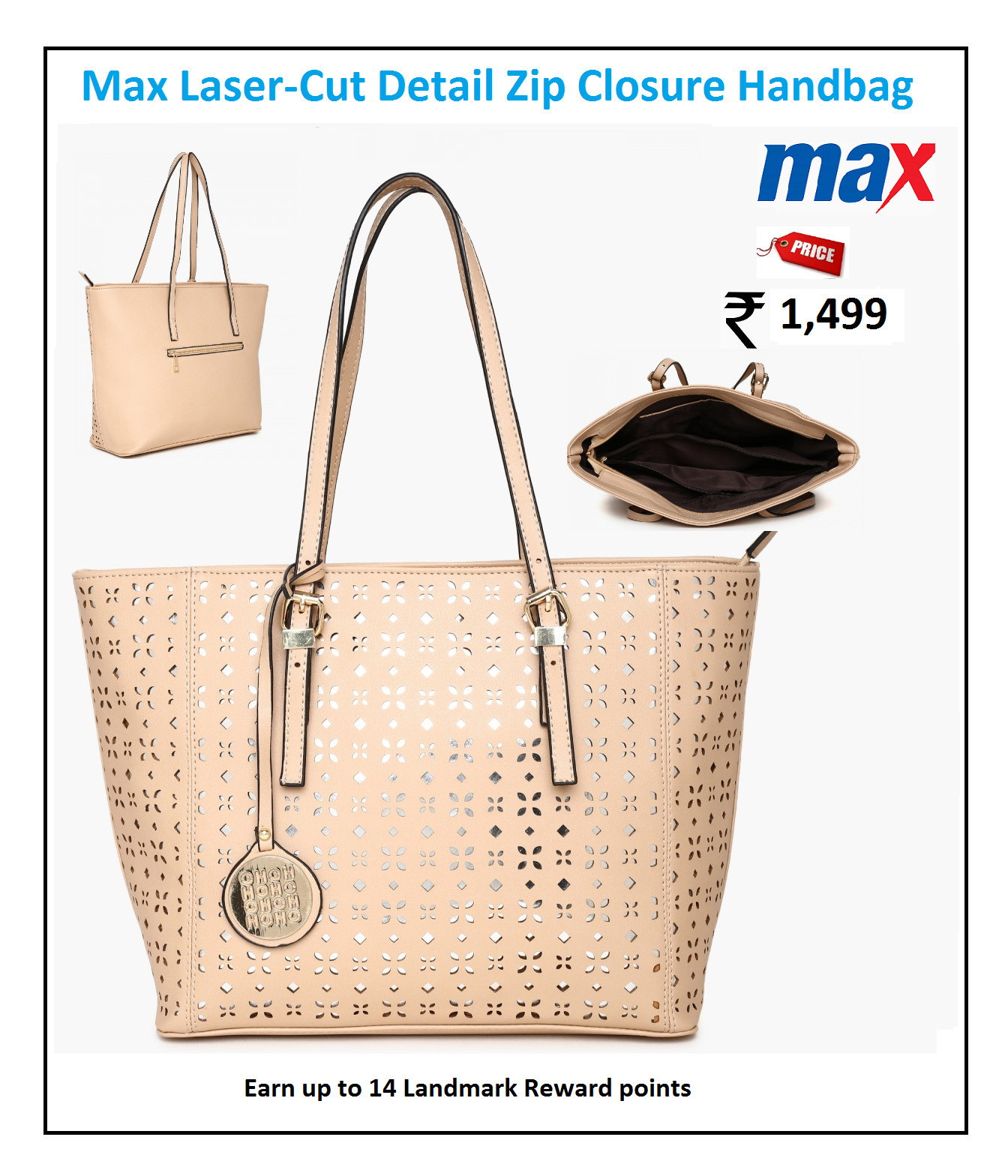 MAX Laser-Cut Detail Zip Closure Handbag   Ladies Handbags   Pinterest e7a9a4aee4