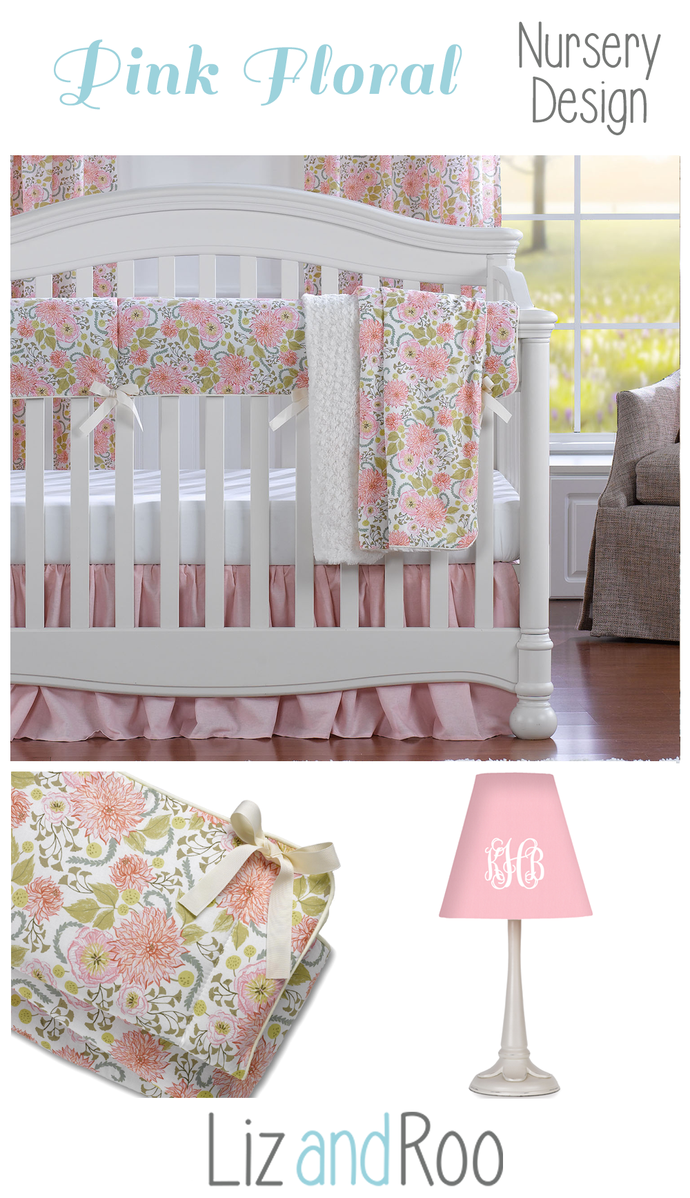 Floral Nursery Bedding Stunning Pink Floral Bumperless Crib Bedding  Baby Bedding Floral Nursery Design Inspiration