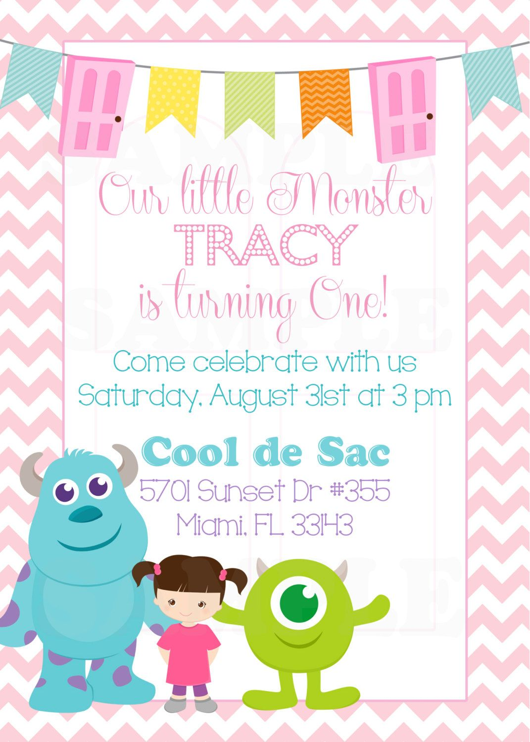 Personalized Monsters Inc Inspired Girls Birthday Invitation & Tags ...