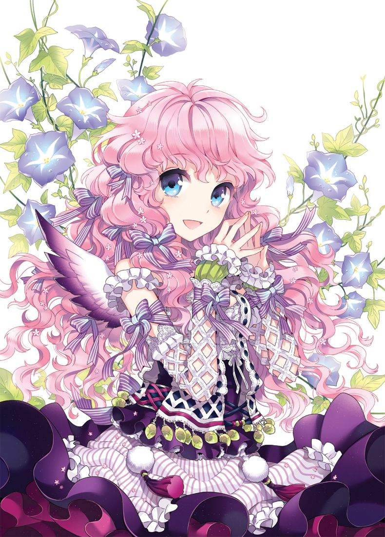 Anime girl with pink hair blue purple eyes pink purple green white red dress ribbons bows lace and purple flowers