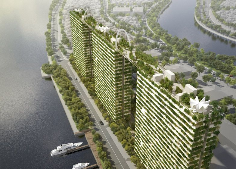 Vo Trong Nghia Plans Trio Of Towers Covered In Bamboo