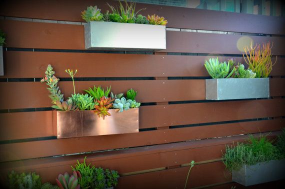 Copper hanging planter box horizontal fence planter - Flower planters for fences ...