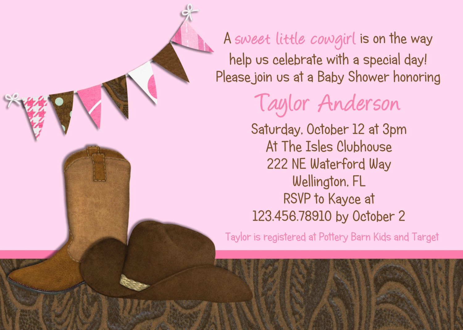 clever baby shower invitation wording%0A Little Cowgirl Western Baby Shower Invitation