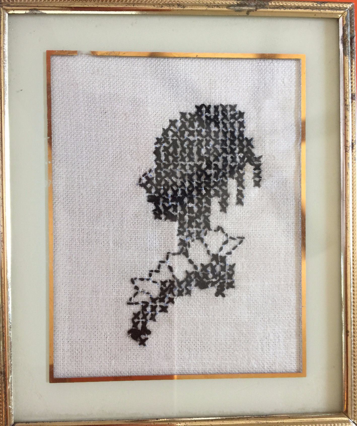 Cross Stitched Silhouette Portrait In Frame