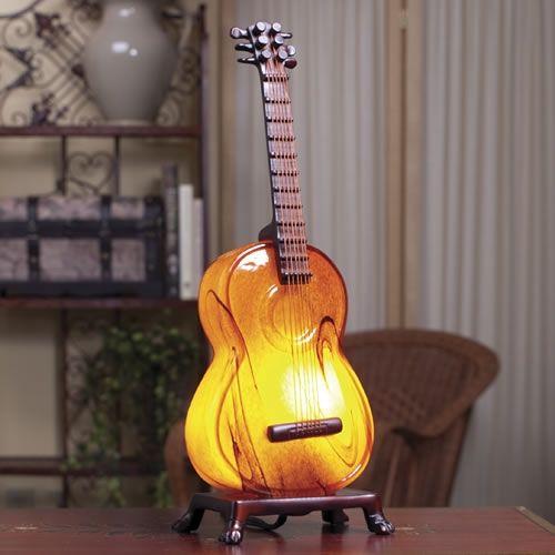 Amber Art Glass Acoustic Guitar Lamp At The Music Stand Guitar Lamp Music Lamp Decor
