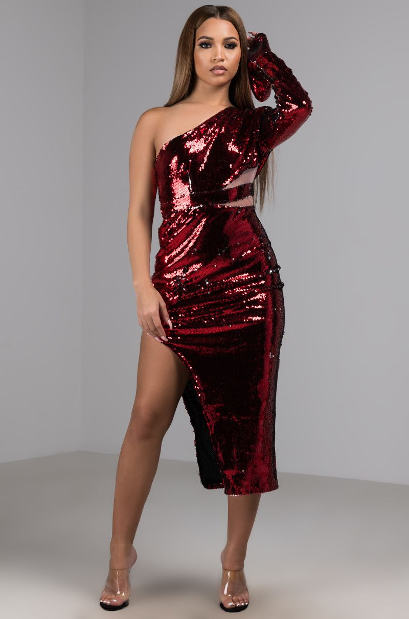 c258dfae5a5 AKIRA Label Sexy One Shoulder Sequin Midi Dress With Slit in Red ...