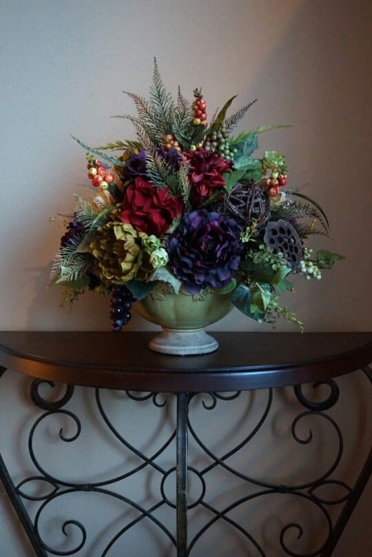 Items Similar To Tuscan Decor Silk Flower Arrangement Dining Table Centerpiece Home With Peonies Grapes On Etsy