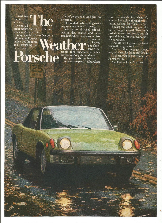 1973 advertisement porsche 914 70s weather green rainy