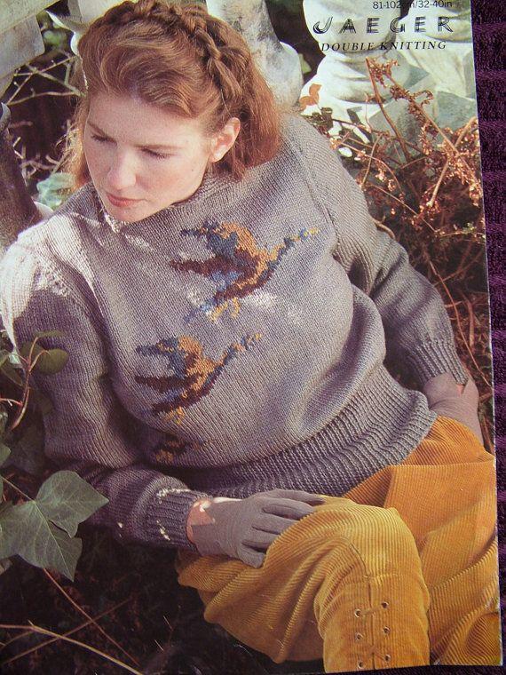 Jaeger 5933d Flying Ducks Jumpersweater Knitting Pattern Knitting