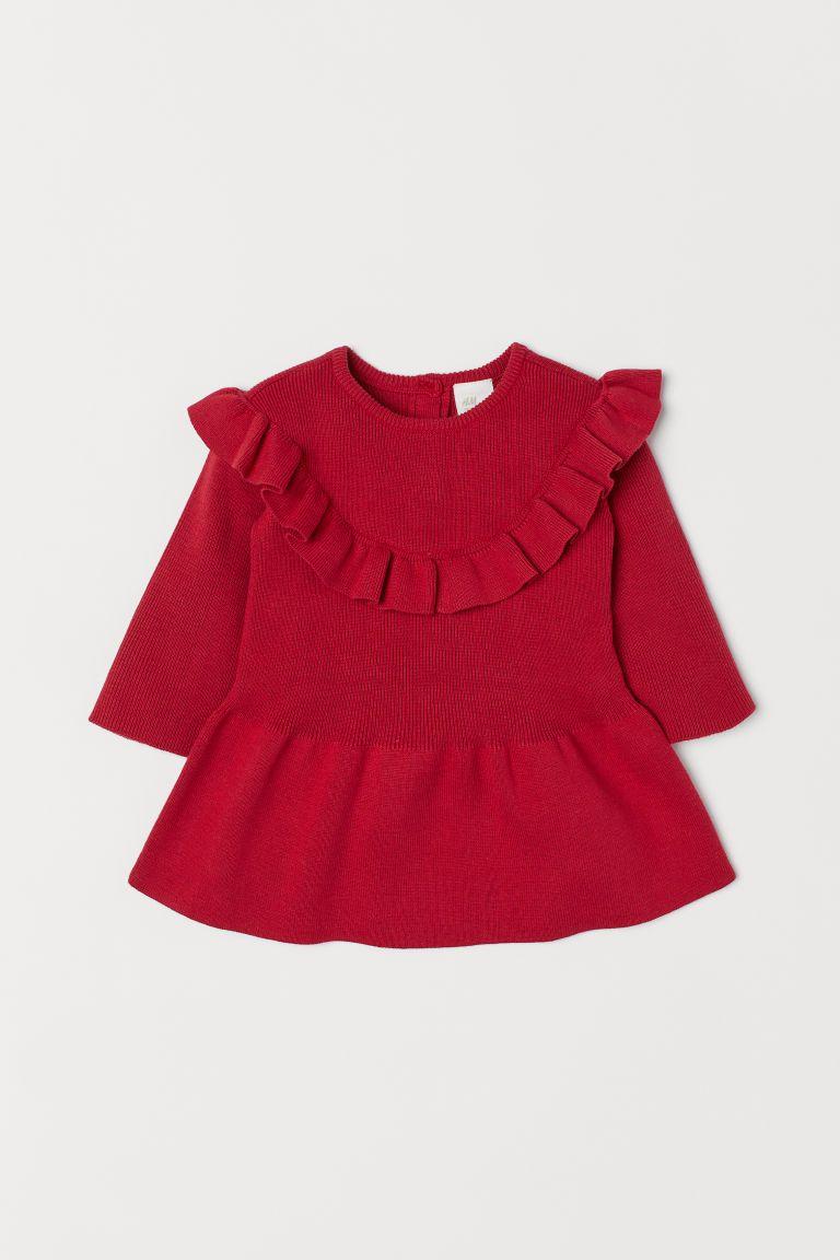 4a838d670f3111 Fijngebreide jurk met volant - Rood -